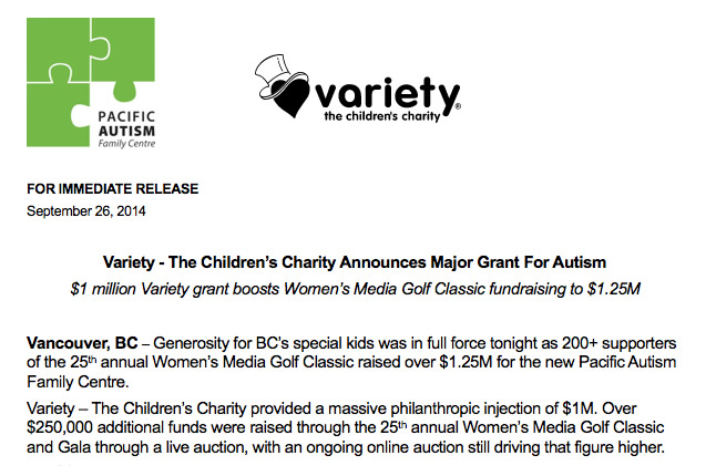 PRESS RELEASE: Variety Children's Charity Announces Major Grant For Autism
